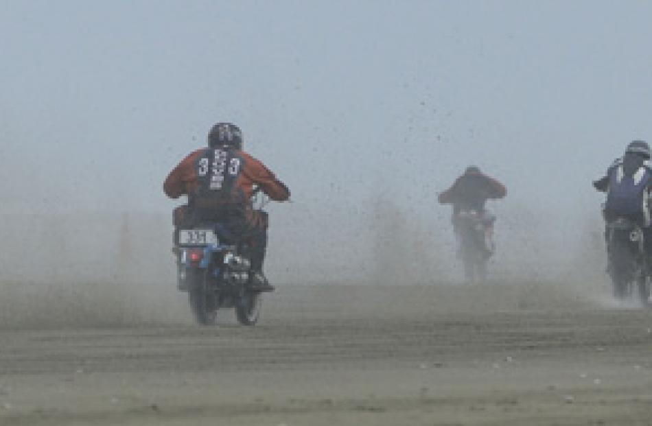 Bikes race at the start of the Burt Munro Trophy 50miles .