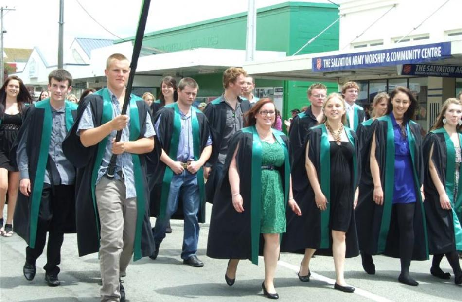 Telford diploma in rural business graduands walk down Clyde St during the Telford graduation...
