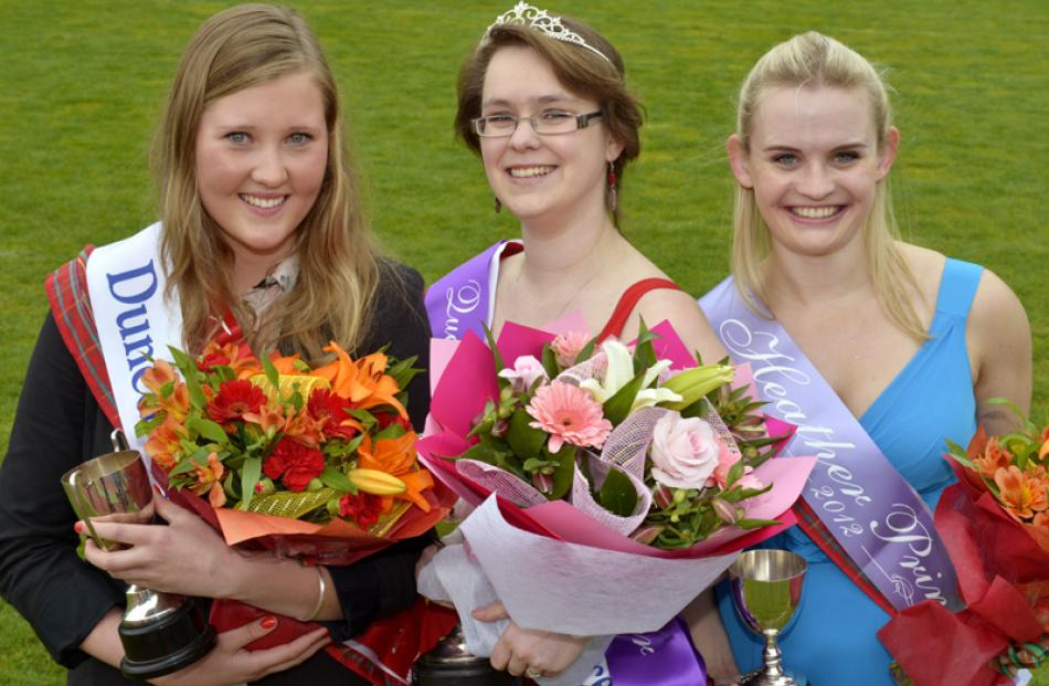 (From left) Otago Girls High School student Erin Officer (18), who picked up second place , ...
