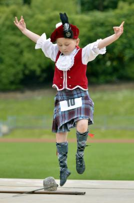 Ella Richardson competes in the Under-eight Sword Dance.