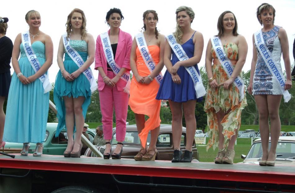 From left: Show queen contestants Kristina May (19), Nicole Hay (18), Rachel Dick (19), Kristin...