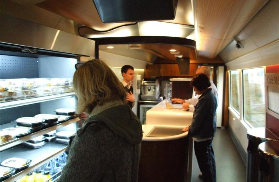 The cafe car of the Coastal Pacific.