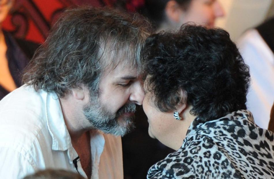 Director Peter Jackson at a maori welcome at Te Papa