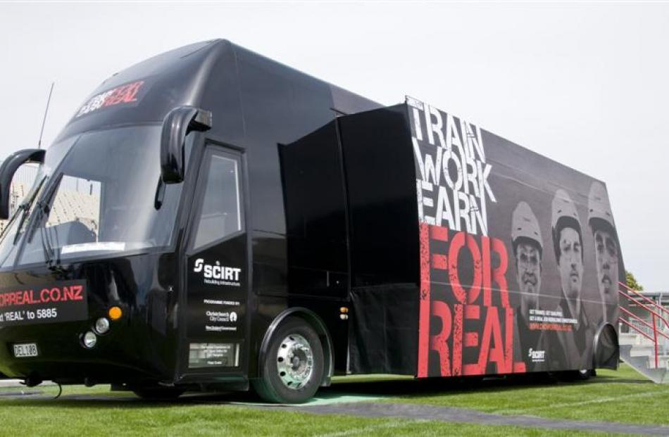 "The ""For Real"" recruitment bus roaming the South Island will arrive at Earnslaw Park, Queenstown,..."