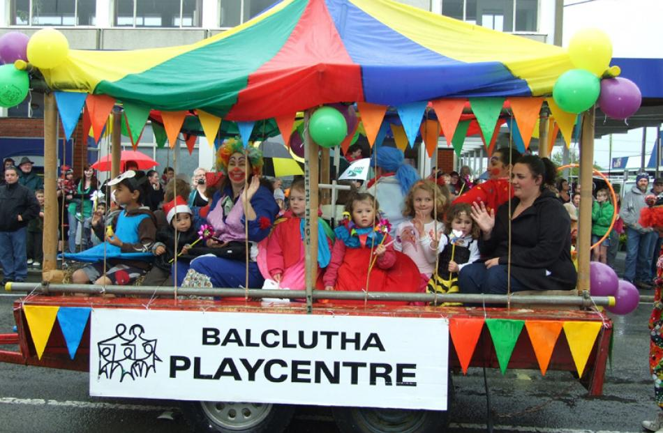 Parents and children of Balclutha Playcentre take part in the Christmas parade in Balclutha on...