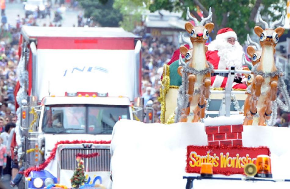 The Dunedin parade floats travel down George St on Sunday.