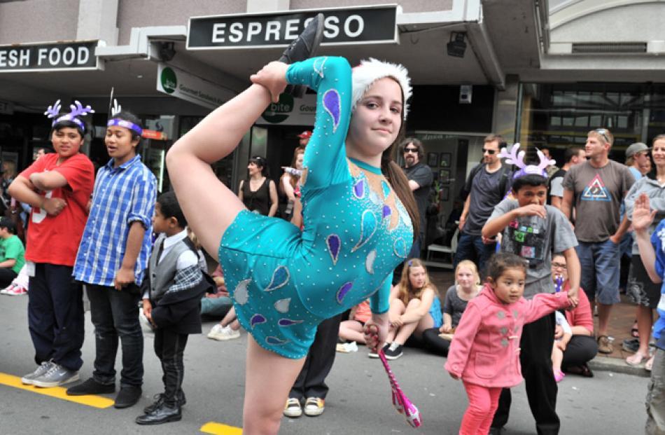 Dunedin gymnast Caitlin McKinlay (13) shows her flexibility.
