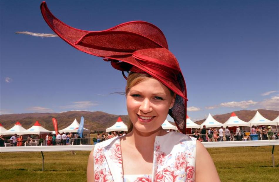 Maria Wright, of Dunsandel, sporting  a hat she made herself,  won the fashion in the field...