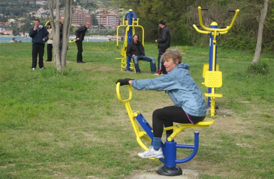 Open-air gyms are a common sight in Slovenia, where fitness is an everyday part of life.