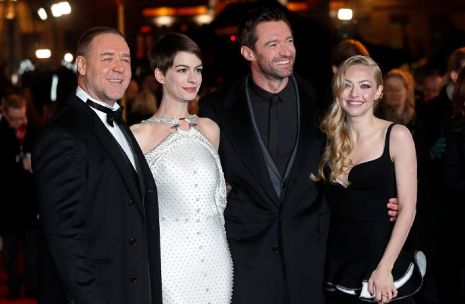 Actors (L-R) Russell Crowe, Anne Hathaway, Hugh Jackman and Amanda Seyfried arrive for the world...