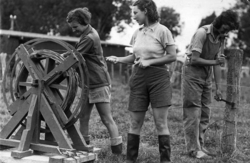 Land girls take down a wire fence. Photo supplied.