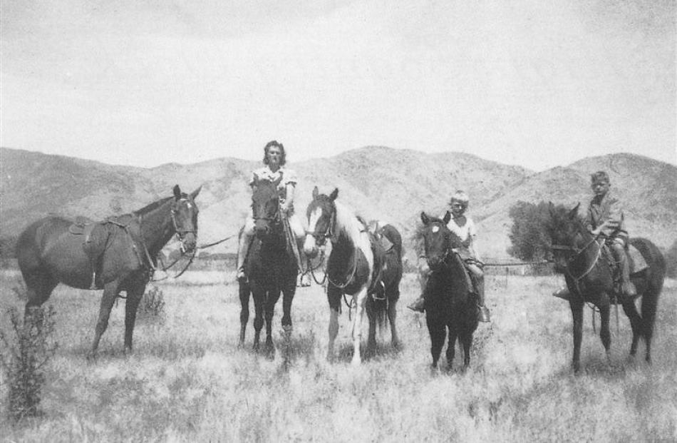 Sadie Leitze (nee Stuart) at Tara Hills Station near Omarama ... 'I used to help break in horses'...