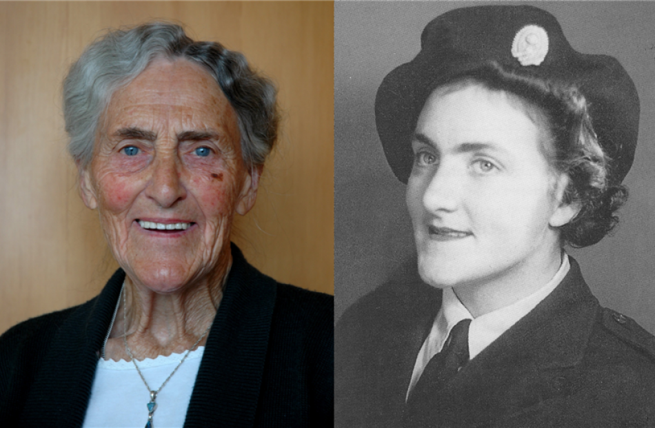 Sadie Leitze now and in 1942, when she joined the New Zealand Women's Land Service. Photo by...