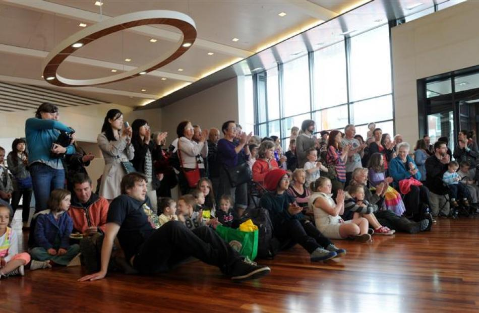 Some of the visitors who gathered to watch the entertainment during the opening  of the museum at...
