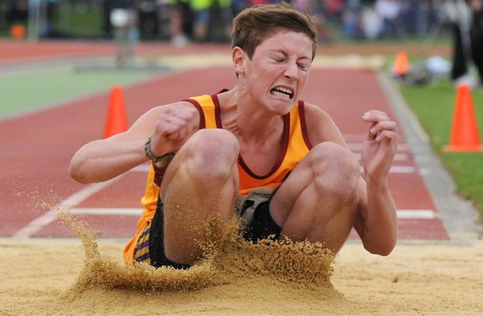 Jayden McLew (Dunstan High School) in the senior boys triple jump