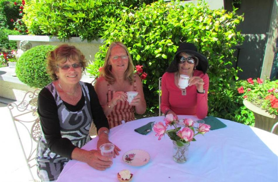 Rosslyn Munro, of Kelvin Heights, Judy Moore and Viv Keith, both of Queenstown, enjoy an...