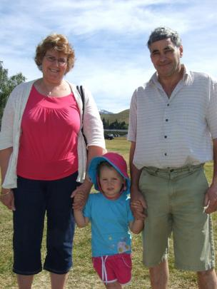 Myah Allison (3), of Invercragill, with her grandparents Ngaire and Ken Allison, of Cromwell.