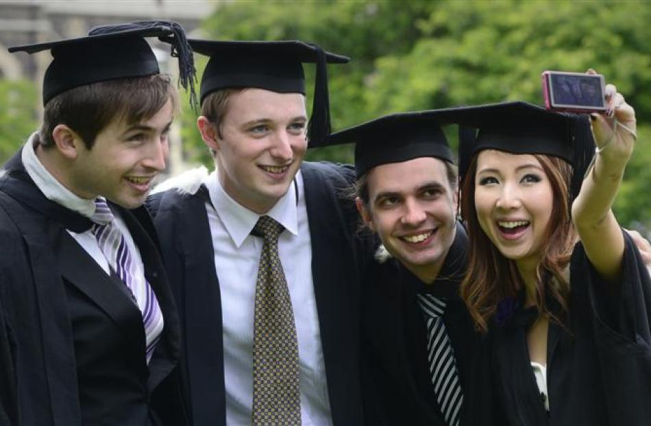 Preparing to graduate are  (from left) Jonny Dyas (21),  Glen Morton (20), Sam McAlpine (20) and...
