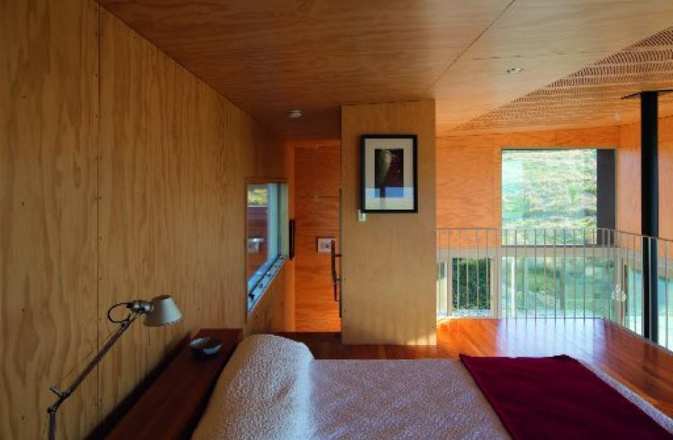 The bedroom on the mezzanine floor.
