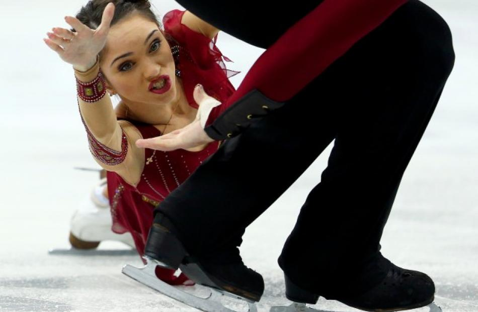 Vera Bazarova and Yuri Larionov of Russia perform during the pairs free skating competition at...