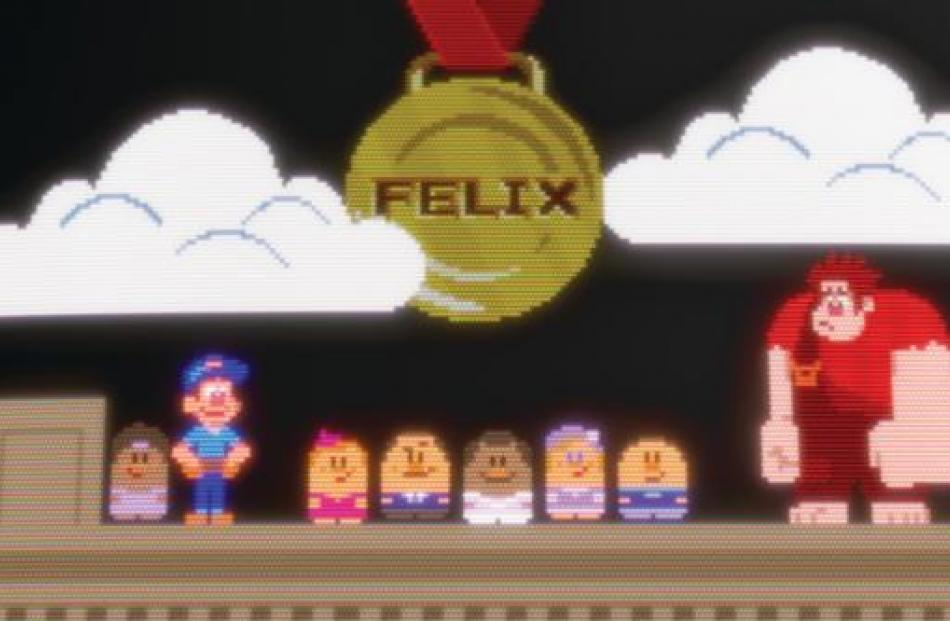 Felix, the Nicelanders and Ralph in the 8-bit video game world of Fix-It Felix.
