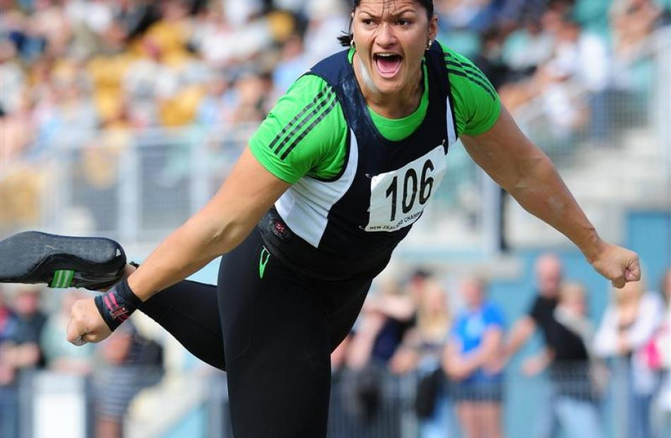 Valerie Adams on her way to winning the women's shot put senior final at the Athletics New...