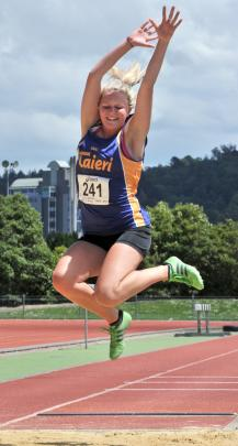 Zoey Flockton (Taieri) demonstrates winning form in the women's long jump