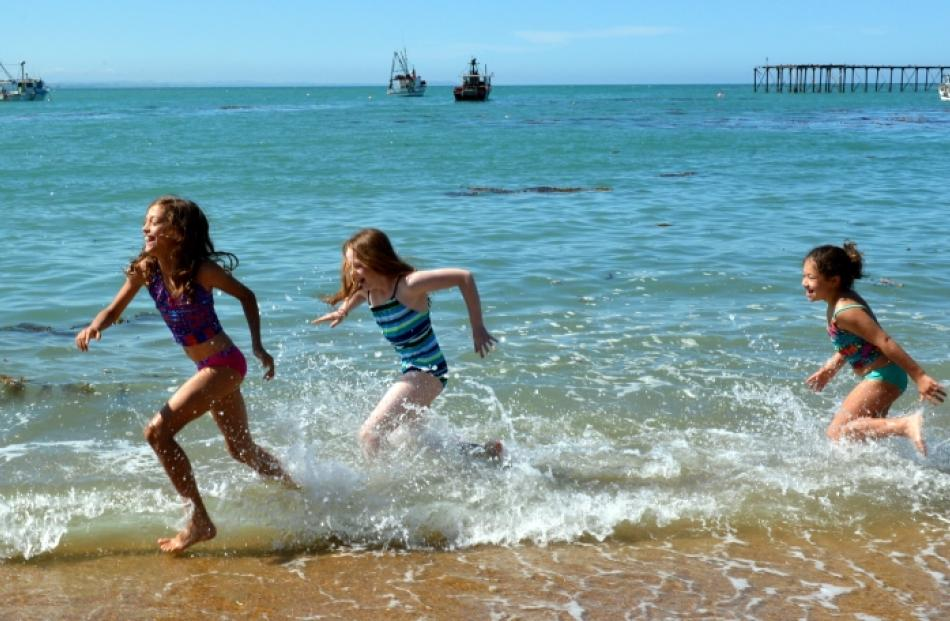 Catch me if you can ... Cousins (from left) Ciara Kennedy (10), of Sydney, Hannah Bond (10), of...