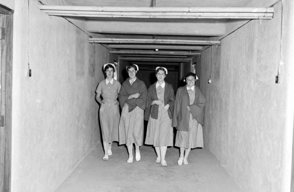Nurses make use of a 115m-long tunnel from Wakari Hospital to the nurses' home building upon its...