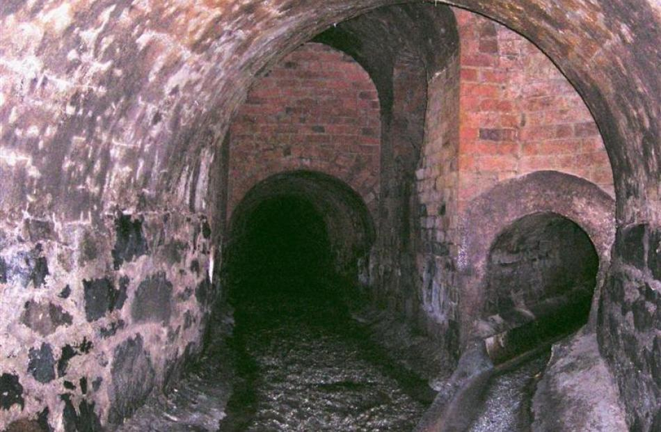 The view from inside the Rattray St sewer, built of brick in 1861, taken more than a century...