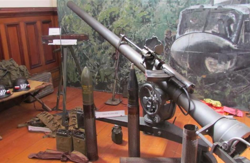A 106mm recoilless rifle from Mr  Dempster's collection.