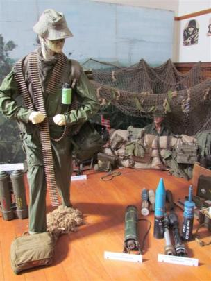 Part of Mr Dempster's large collection is used to re-create a war zone at the Waimate Historical...