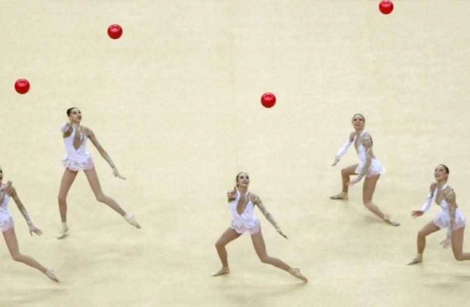France's team compete in the International Group Rythmic Gymnastics event in east London in...