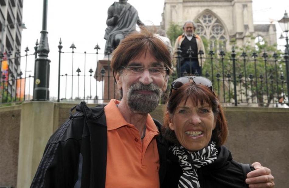 German couple Werner and Marianne Eimer enjoy Dunedin's mild weather yesterday, having embarked...