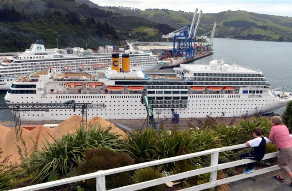 Jean McKeeven and her grandson Jayden Suddaby-McKeeven (9) admire  cruise ships Costa...