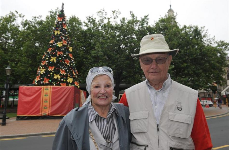 Norma Nesbitt and Art Levins, of Canada, ease into their holiday in Dunedin yesterday, after...