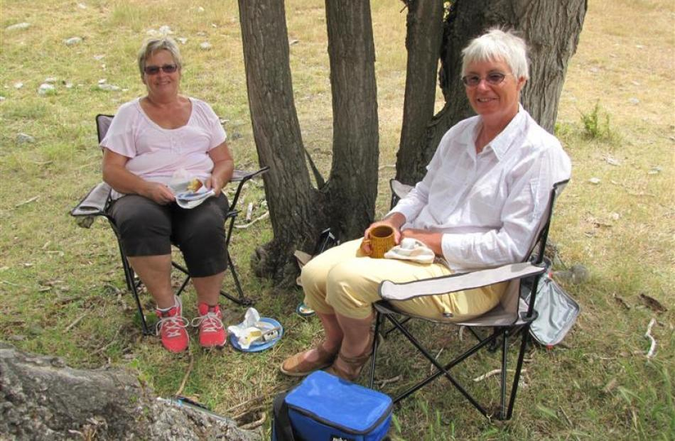 Enjoying a picnic lunch near the campsite are  Clarissa Bochel (left), of Bendigo,  and Barbara...