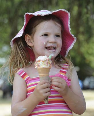 Sarah-Jane Berben (4) on holiday in Hawea with her parents from Auckland enjoys an icecream at...