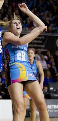 Southern Steel goal keep Storm Purvis in action during her team's ANZ Championship match against...