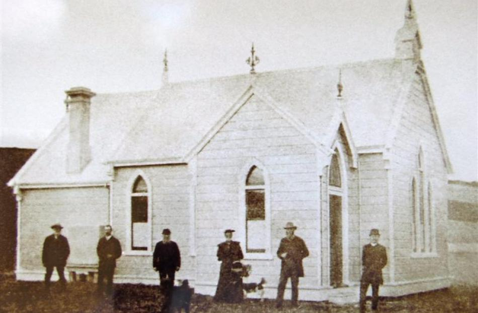 The Wangaloa Presbyterian Church, pictured soon after it was built in 1894. Note the adornments...