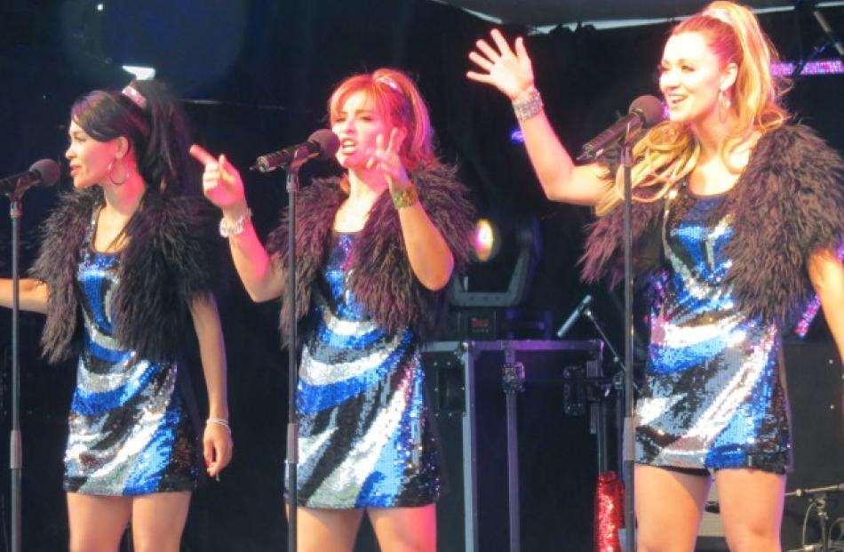 The Sequin Sisters sang their hearts out and had the crowd dancing in the rain on Earnslaw Park....