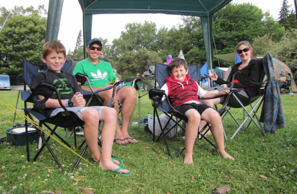 Hawea campers Jack Wassell (11), Grant Wassell, Max Wassell (8) and Michelle Wassell, all of...