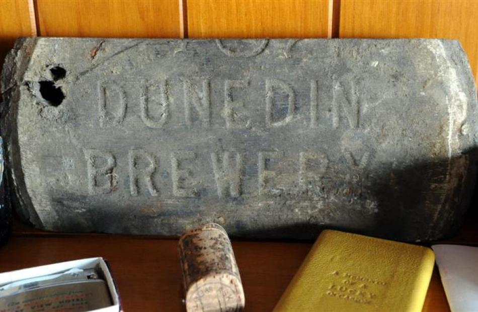 Among Pete Moffat's collection of Otago beer memorabilia is a Dunedin Brewery stone.