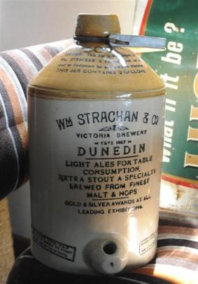 An early 1900s William Strachan & Co stone beer crock is one of Pete Moffat's favourite pieces.