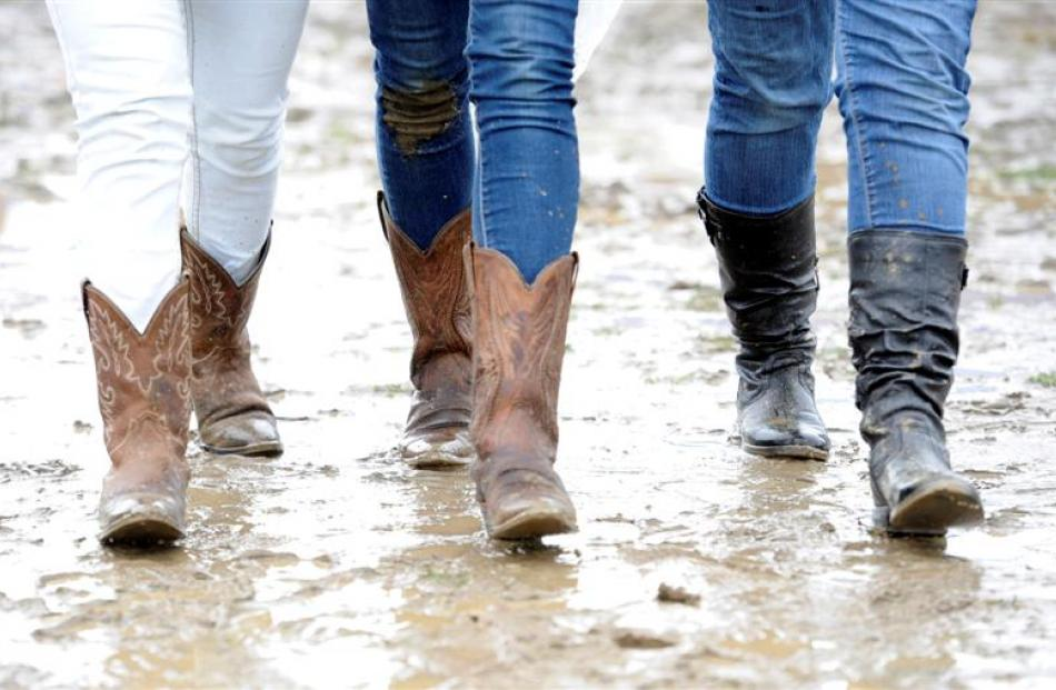 Cowgirl boots were ideal for the underfoot conditions -  these boots belong to  (from left) Anna...