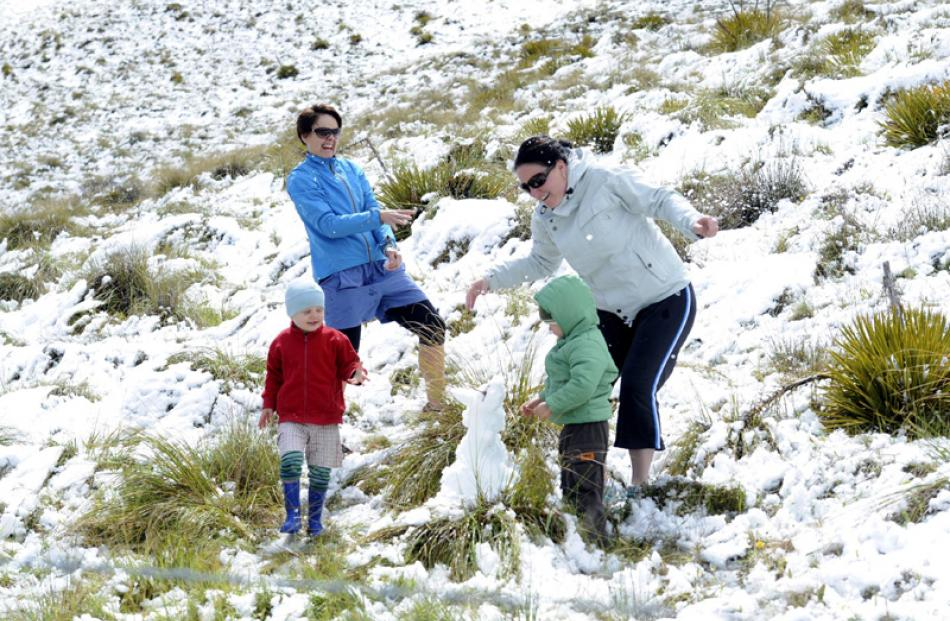 Rachel Shirley (left) and her son Ethan Shirley (3) of Lake Hawea and Justine Weatherall of...