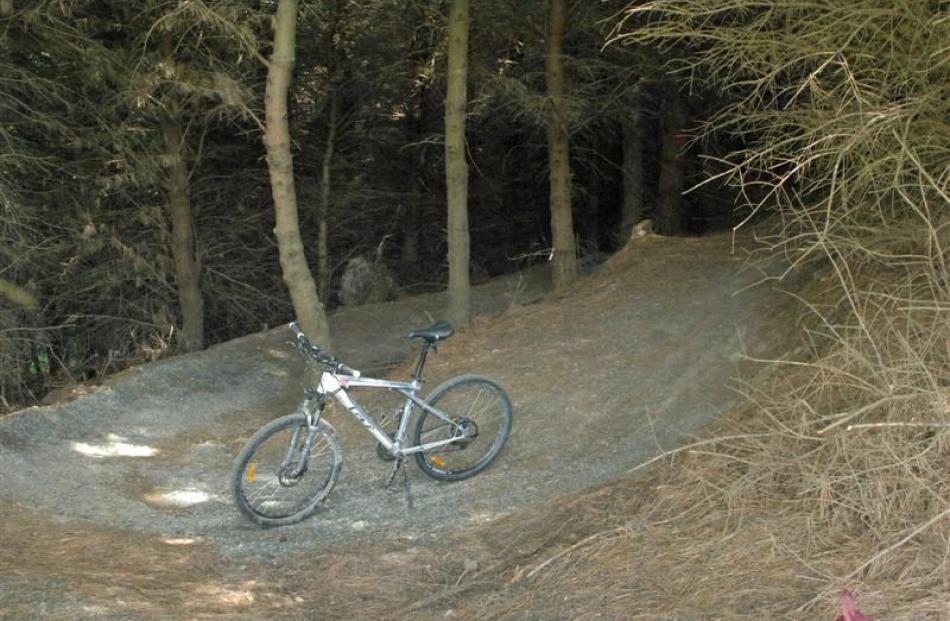 The winding trail  leading down into the Spooky Forest on the Forrester Park MTB trail is a fun...