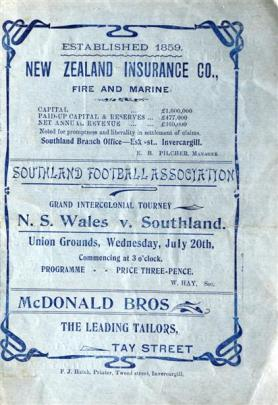 The programme for Southland's 1904 game against New South Wales at Invercargill's Union Grounds.