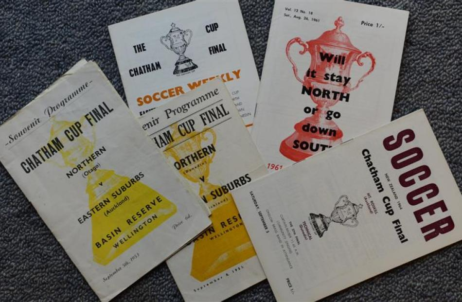 Various Chatham Cup Final programmes and flyers from the 1950s and 1960s.