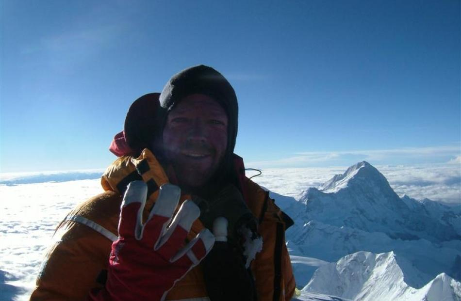 Dean Staples on the summit of Mt Everest in 2007. Photo supplied.
